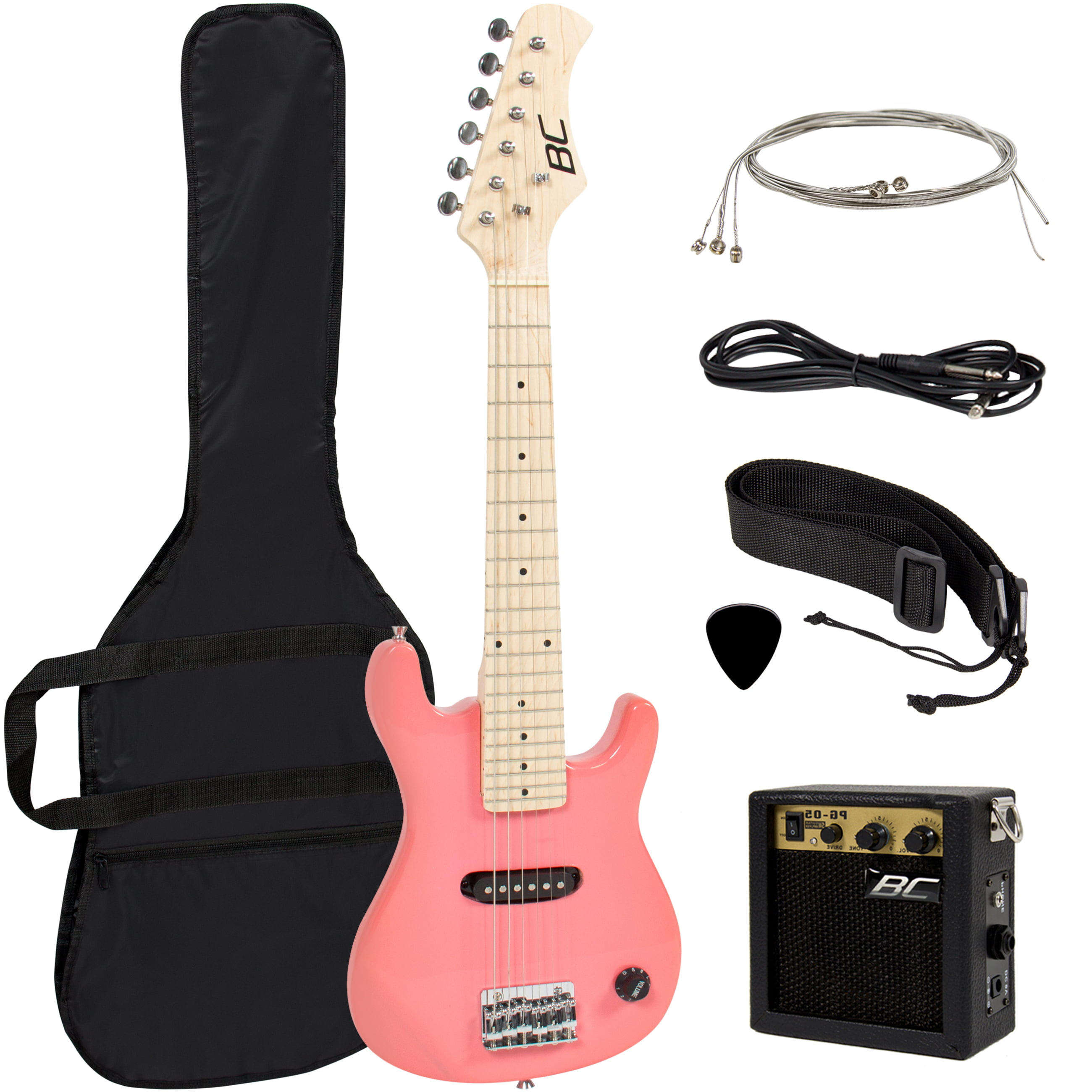 "Electric Guitar Kids 30"" Pink Guitar With Amp + Case + Strap and More New by SKY"