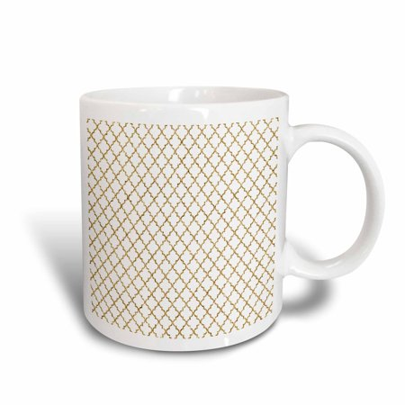 3dRose Gold Glitter Effect Moroccan Quatrefoil Pattern - Ceramic Mug, 11-ounce
