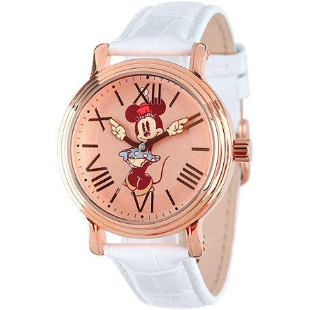 Minnie Mouse Women's Shinny Rose Gold Vintage Articulating Alloy Case Watch, White Leather Strap ()