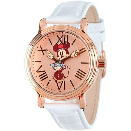 Minnie Mouse Women's Shinny Rose Gold Vintage Articulating Alloy Case Watch, White Leather -