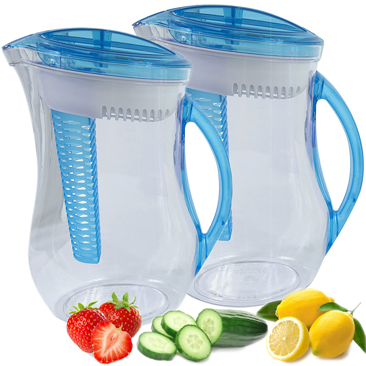 Cool Gear 2 Pack 10 Cup Infuser Filter Pitcher Natural Water Filtration System Plus Fruit Tea Flavor Infusion Reusable Dispenser