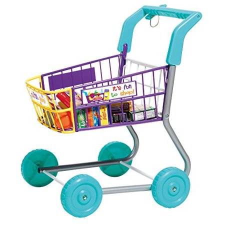 Casdon Toy Grocery Shopping Cart Trolley, Includes Play Food (611) Bring a fresh bit of fun to your child's play with this Casdon Shopping Toy Trolley. It can make play shopping so much more exciting with colorful pieces for kids to enjoy using. This adorable shopping cart toy is ideal for your customers to use when pretending to shop and playing other games that include food. It has a comfortable chunky handle for little hands to hold and a wide wheel base for better stability. The cart even has a deposit key for added realism. Kids will love pretending to shop at home. Play food and imitation food cartons are included to feed the imagination for added fun. The shopping cart for kids has been specially designed to provide hours of creative excitement and stimulation so your little shopper will really feel like a part of your world, while developing essential life skills.