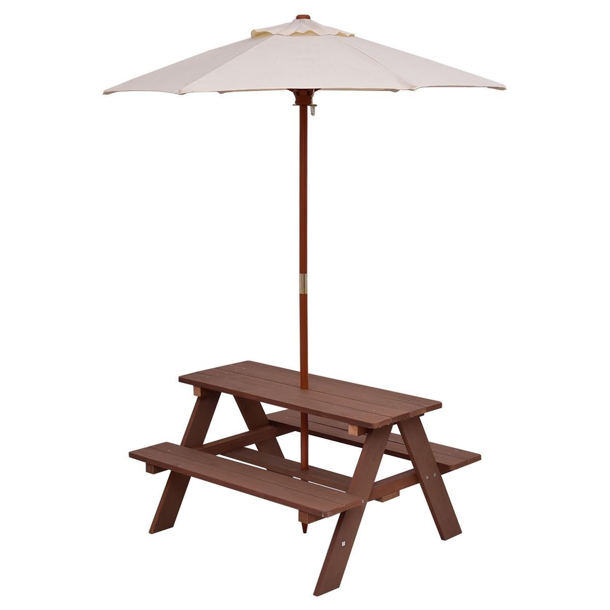 Charmant GHP 4 Seats Kids Fir Wood Picnic Table Bench With Folding Detachable 6 Bone  Umbrella