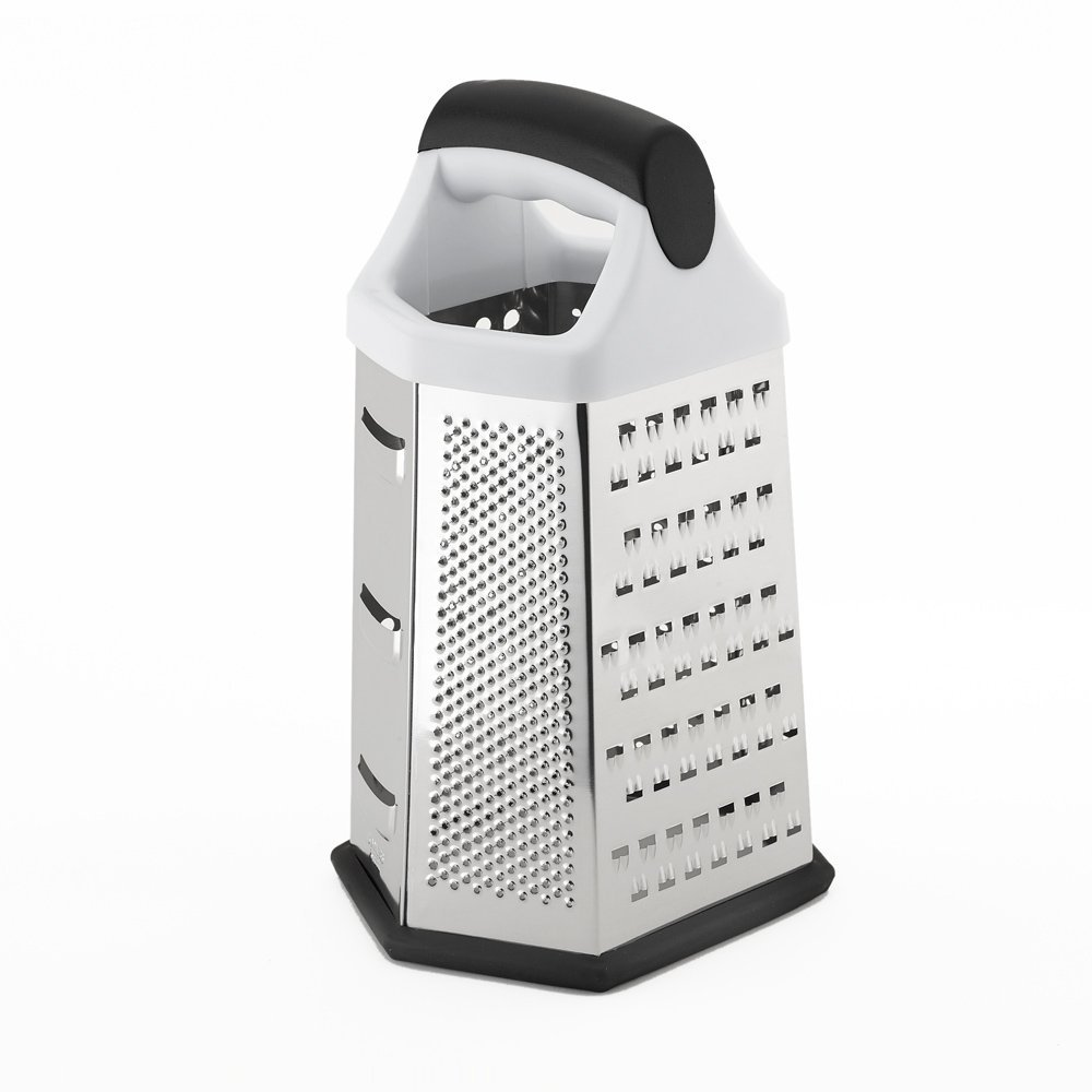 CHEF ZONA Deluxe 6-Sided Box Grater, 6 Different Grating Surfaces, Boxed Grater Great for Shredding, Slicing and Zesting, Stainless Steel Vegetable Slicer