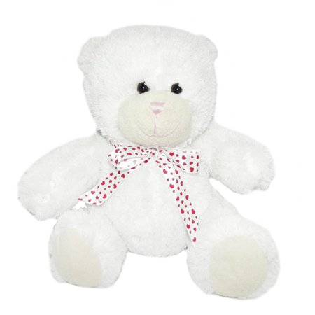 Valentine's Day Plush White Bear with Red Heart Ribbon (Memorial Day Ribbon)