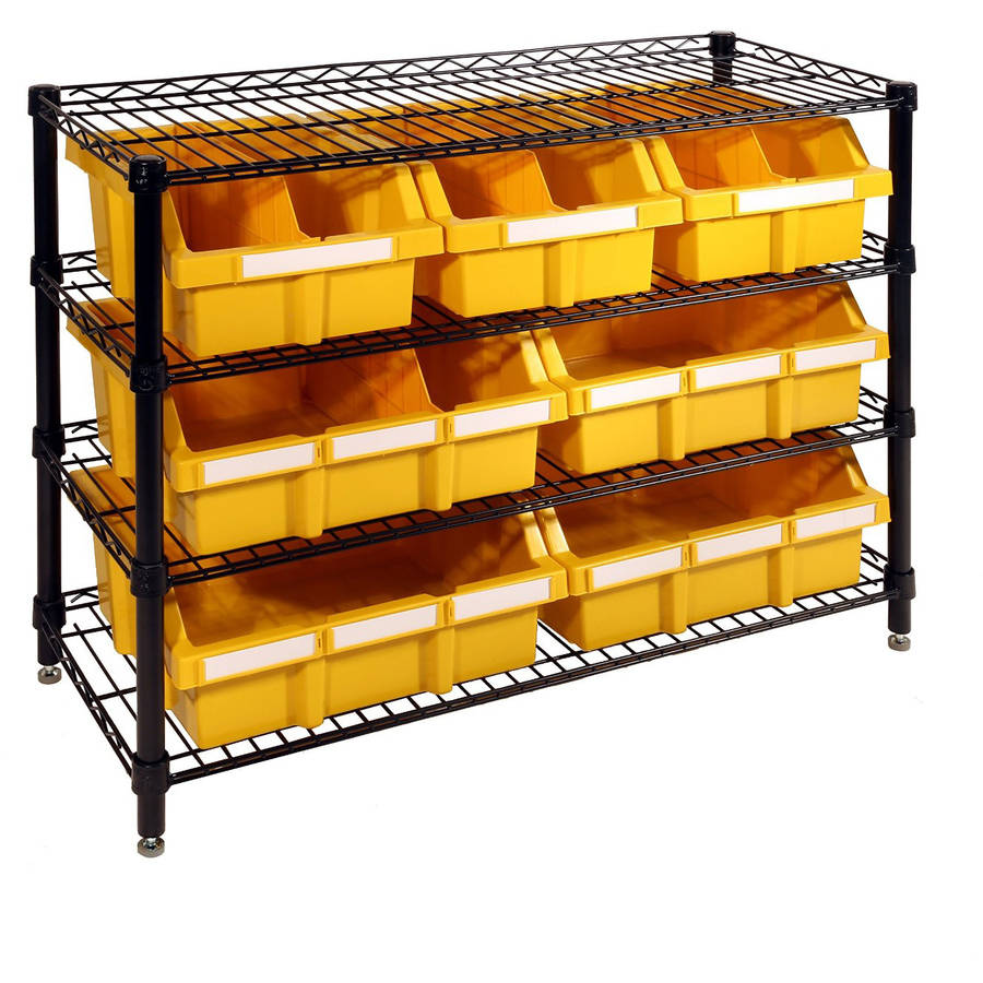 Seville Classics 4-Shelf Bin Rack, Black