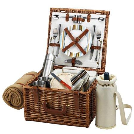 Picnic Coffee Set - Santa Cruz Cheshire Picnic Basket with Coffee Set and Blanket
