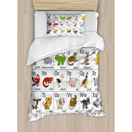 Educational Duvet Cover Set Alphabet Learning Chart With Cartoon Animals Names Letters Upper And Lowercase