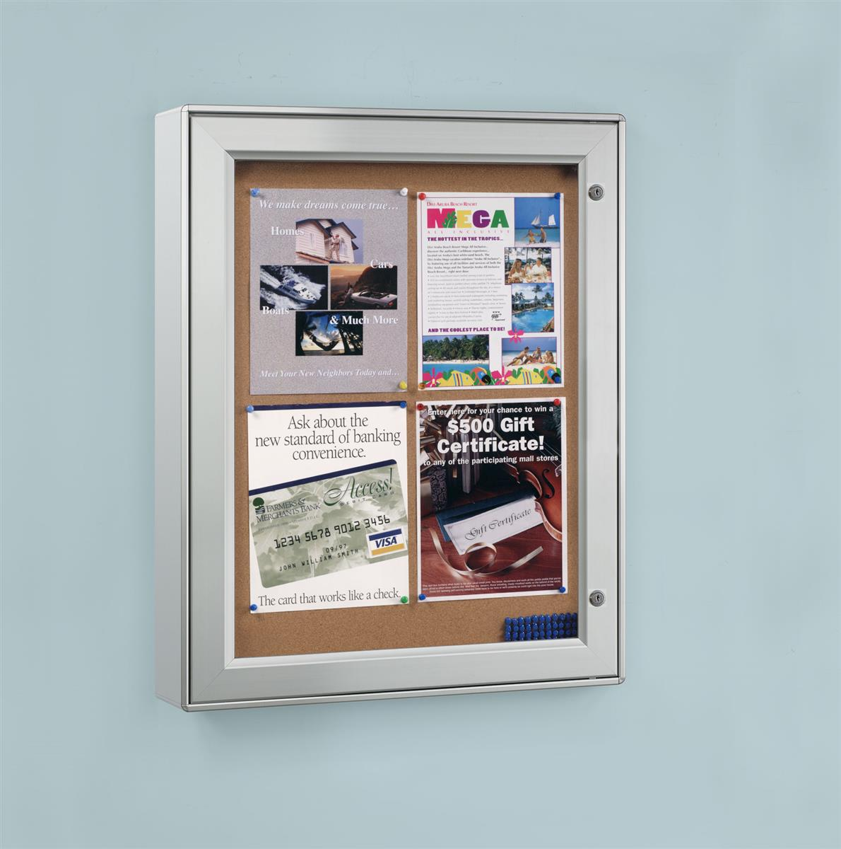 "Wall-Mounted Enclosed Bulletin Board, 23-1/4"" x 29-3/4"", Aluminum Frame, Weather Resistant, Swing-Open Locking Door, For Indoor or Outdoor Use (ODNBCB4A4)"