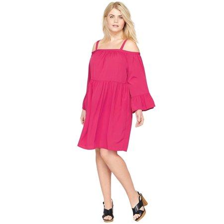 Roamans - Plus Size Tiered Sleeve Dress By Castaluna - Walmart.com