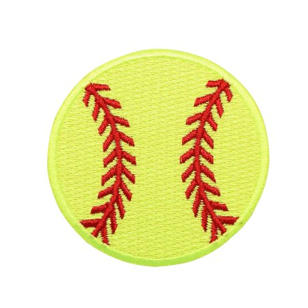 Large Neon Yellow Softball - Iron on Applique/Embroidered Patch 125 Duplex Yellow Patch