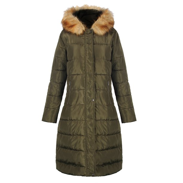 womens winter coats with fur : iLoveSIA Womens Puffer Long Coat Winter Maxi parka with Faux Fur HoodGreen US 8