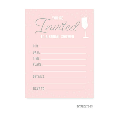 Pink blush and gray pop fizz clink wedding blank bridal for Walmart wedding shower invitations