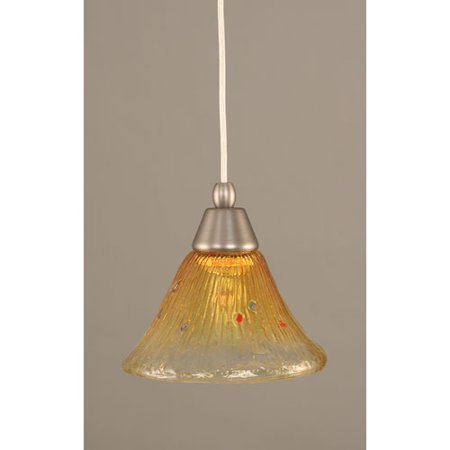Brushed Nickel Cord Mini Pendant with Gold Champagne Crystal Glass