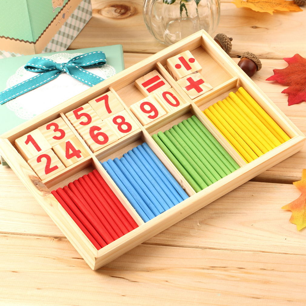 Math Manipulatives Wooden Counting Sticks Kids Preschool Educational Toys by
