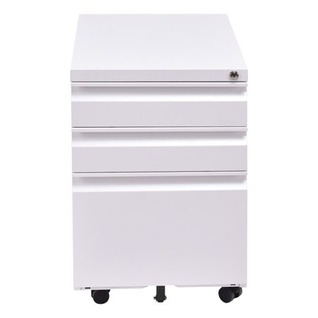 White 3 Drawers Rolling Mobile File Pedestal Storage Cabinet Steel Home