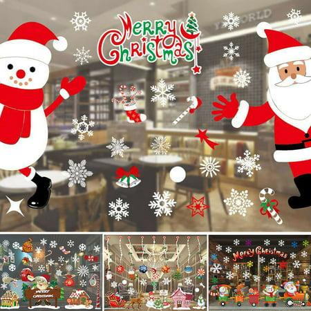 girl12queen glass window film static cling home office xmas christmas santa claus sticker walmartcom - Christmas Decorative Window Film