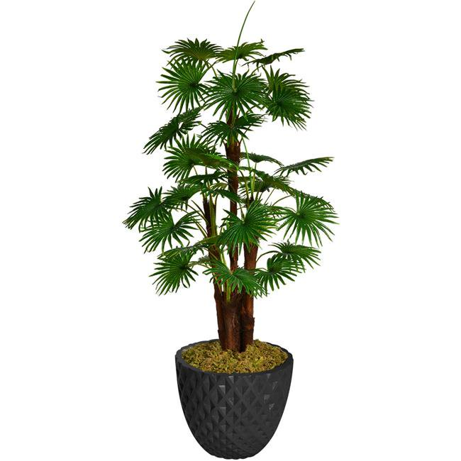 """71.6"""" Tall Fan Palm Tree Artificial Indoor/ Outdoor Décor Faux Burlap Kit and Fiberstone Planter By Minx NY"""