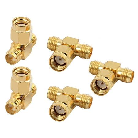 5Pcs Gold Tone Straight SMA Female to Double SMA Male RF Coax Tee Connector