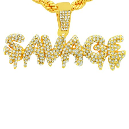 Savage Motor Plate - 14K Gold Plated Hip Hop Bling Simulated Iced Out