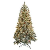 6 ft. Crystal Cashmere Tree with Pine Cones Red Berries & 200 Clear Lights