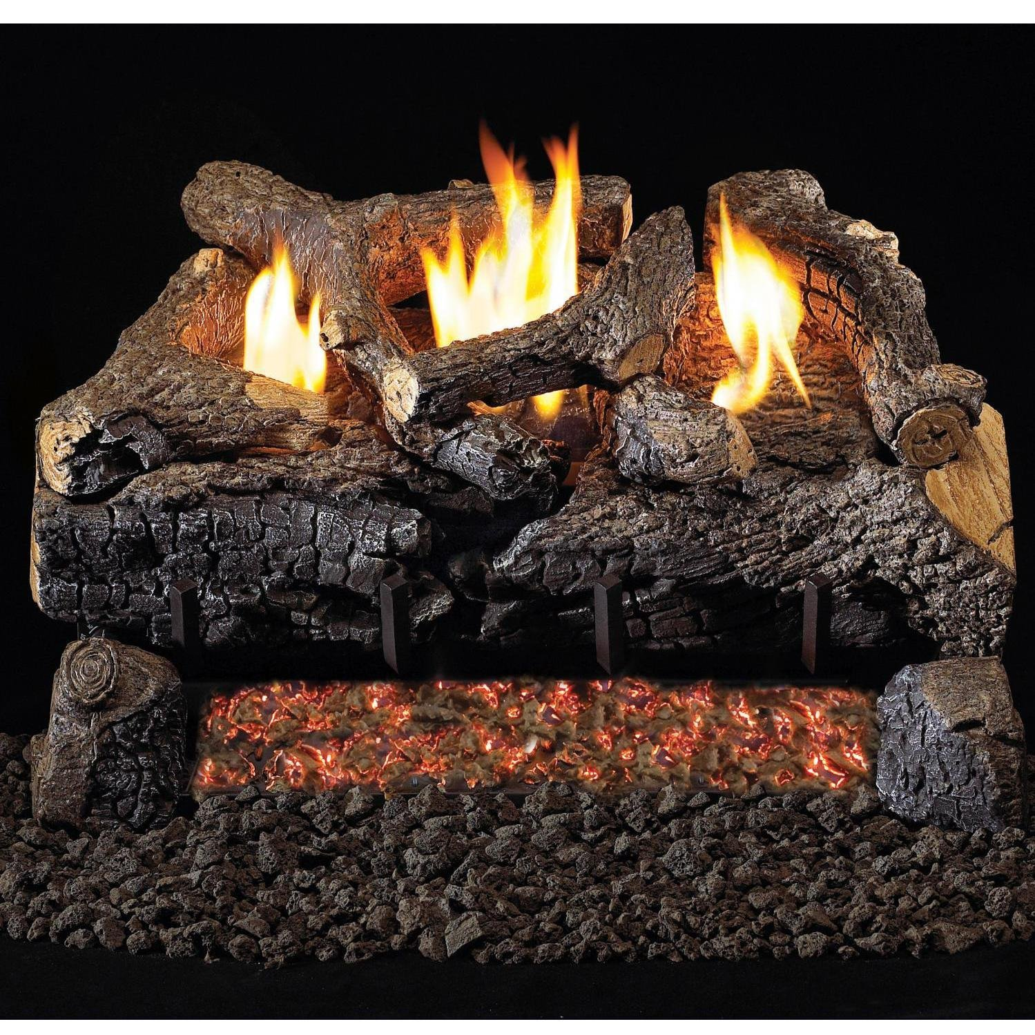 Peterson Real Fyre 30-inch Evening Fyre Charred Log Set With Vent-free Propane
