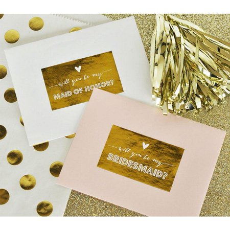 Will You Be My ... Bridesmaid - Maid of Honor - Matron of Honor Labels - Gold Foil - 1.9in. x 3.08in. - Set of 9