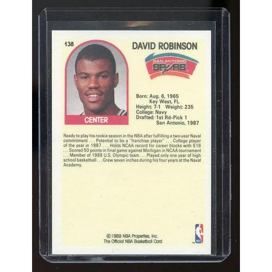1989 90 Hoops 138 David Robinson Sp Spurs Rc Rookie Card