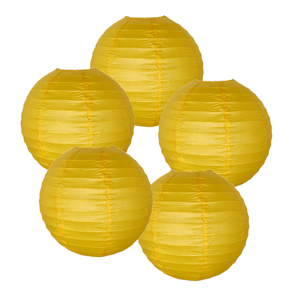"Just Artifacts 16"" Yellow Paper Lanterns (Set of 5) - Decorative Round Paper Lanterns for Birthday Parties, Weddings, Baby Showers, and Life Celebrations"