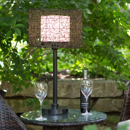 Image of Kenroy Home All-Weather Rattan Tanglewood Outdoor Table Lamp, 28 Inch Height, Oil Rubbed Bronze Finished Powder Coated Steel, Rattan Bird-Nest Design Shade with Bulb Shield, UL Listed for Wet and Damp