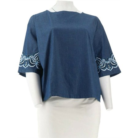 Bob Mackie Drop Shoulder Blouse Slv Embroidery A303007