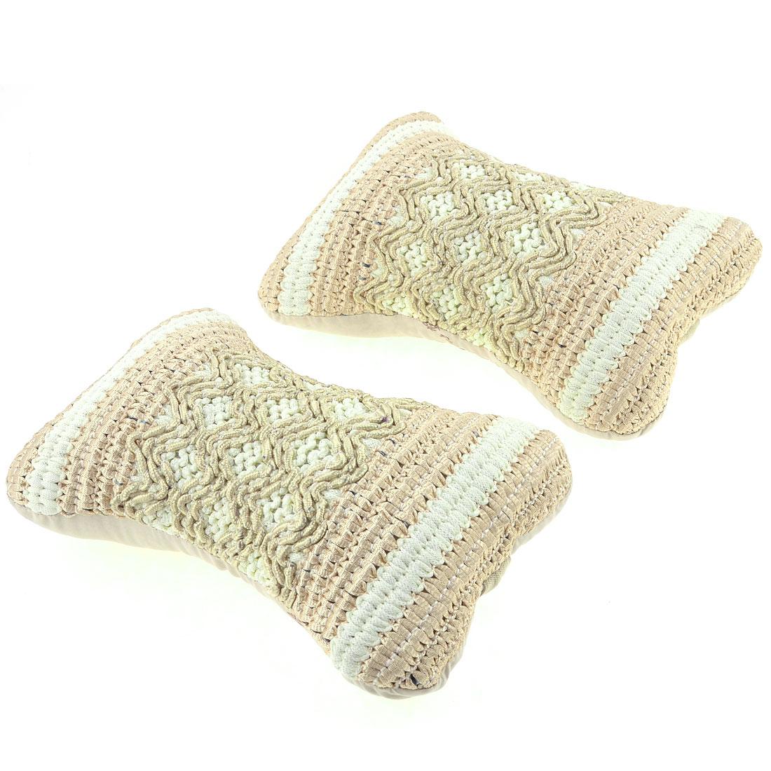 Unique Bargains 2 Pcs Pale Yellow Brown Nylon Knitted Zip Up Neck Rest Pillow for Automobile Car