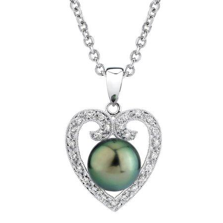 9mm Tahitian South Sea Cultured Pearl & Diamond Heart shaped Pendant Necklace in 18K -