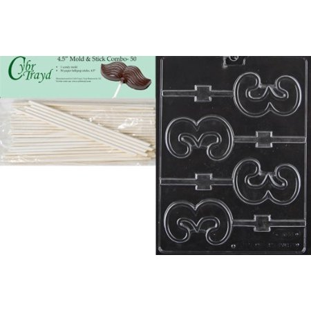 Cybrtrayd 45St50-L048 No.3 Lolly Letters and Numbers Chocolate Candy Mold with 50-Pack 4.5-Inch Lollipop Sticks