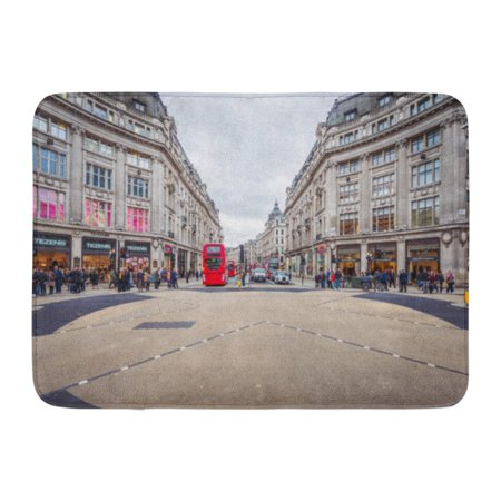 GODPOK Red Advertisement London Nov 09 View of Oxford Street on November 2015 in is Major Road The West End UK Rug Doormat Bath Mat 23.6x15.7 (West Road Mall Stores)
