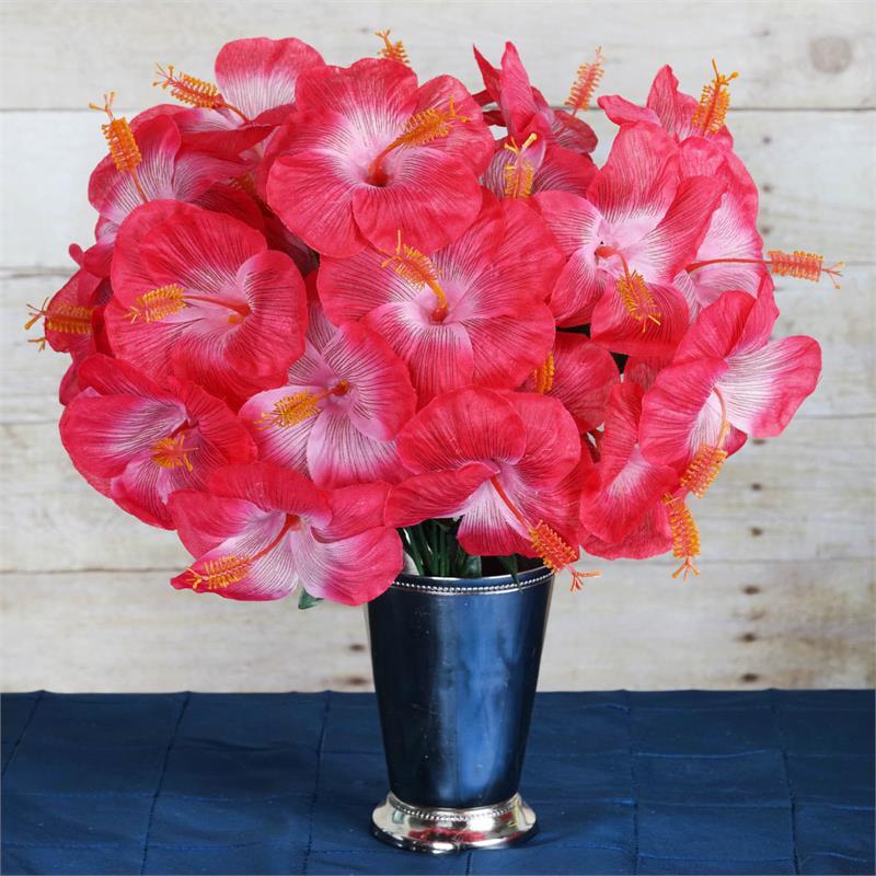 Efavormart 60 pcs Artificial HIBISCUS Flowers for DIY Wedding Bouquets Centerpieces Arrangements Party Home Decorations - 12 bushes