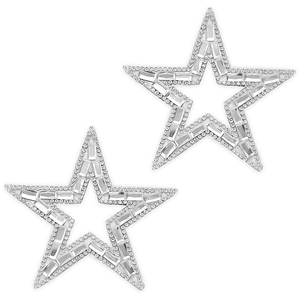 "Expo Int'l Pack of 2 3 5/8"" Star Outline Iron-on Rhinestone Applique"