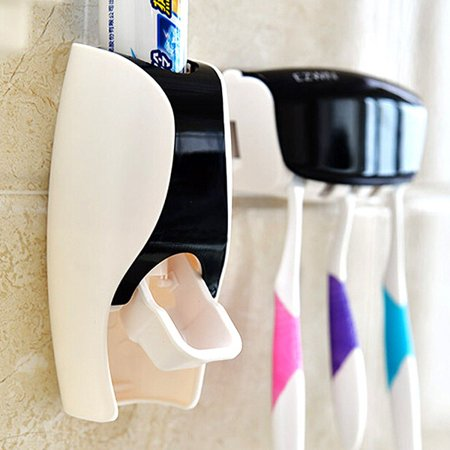 Automatic Toothpaste Dispenser Toothbrush Holder Set Wall Mount Stand Bathroom Storage Rack Accessories Home Decor