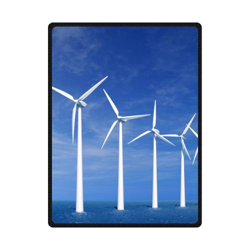 CADecor Rotating Windmill Blue Sky Fleece Blanket Throws 58x80 inches