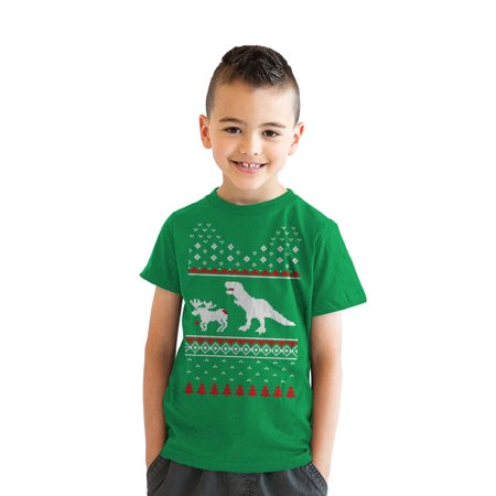 Youth T-Rex Attack Ugly Sweater T Shirt Funny Christmas Dino Tee For Kids - Ugly Christmas Sweaters For Kids