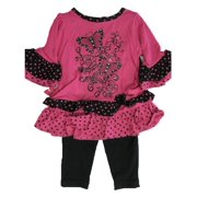 Baby Girls Fuchsia Butterfly Applique Dotted 2 Pc Leggings Set 12-24M