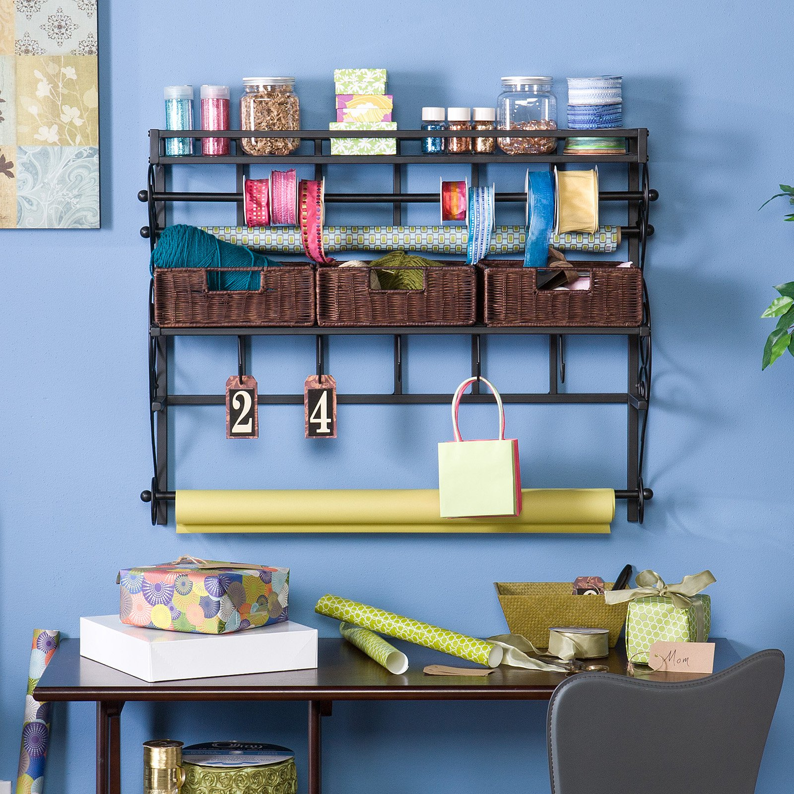Wall Mount Craft Storage Rack with Baskets