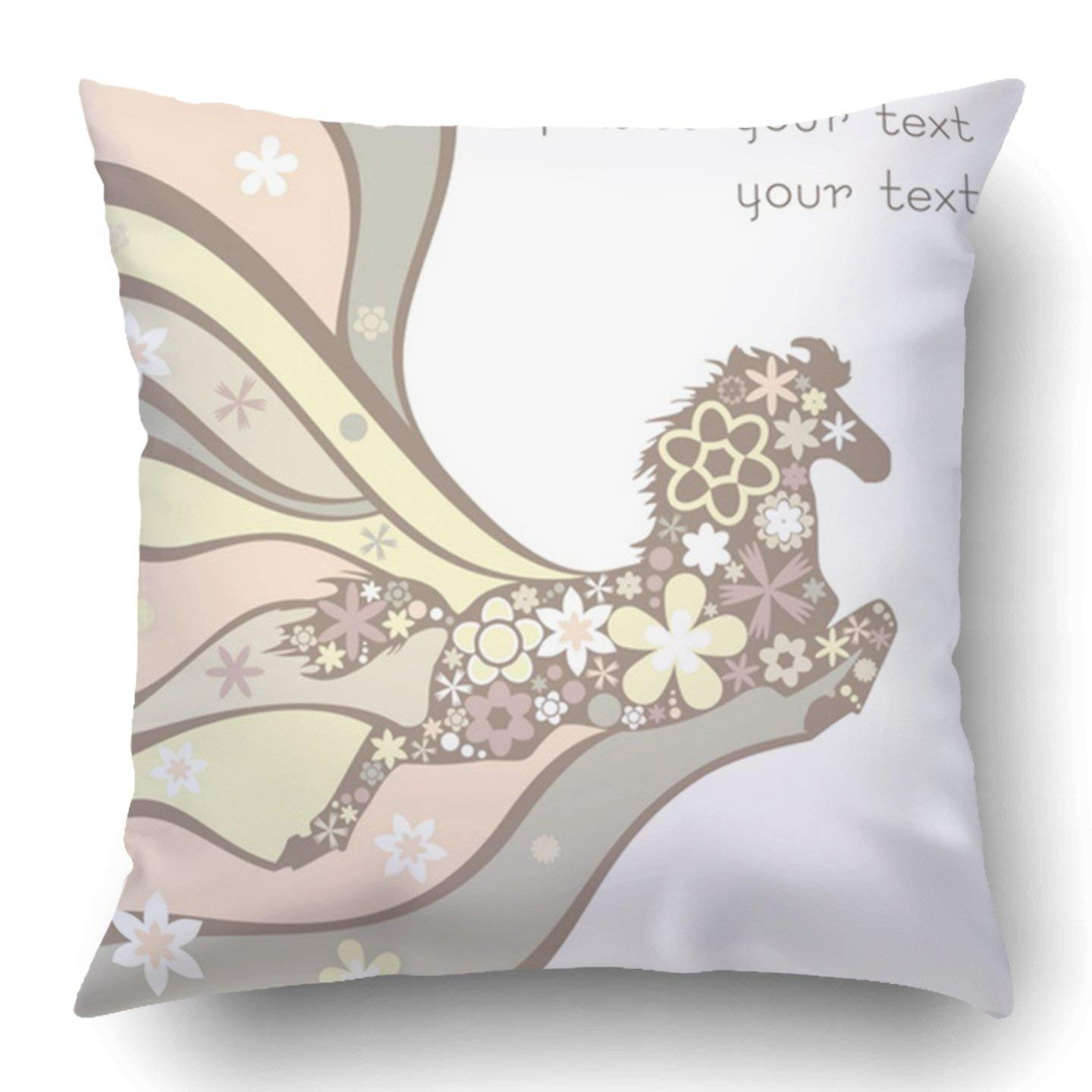 WOPOP Colorful Flower with Floral Horse Pink Creative Retro Year Color Curve Gentle Graphic Pillowcase 18x18 inch