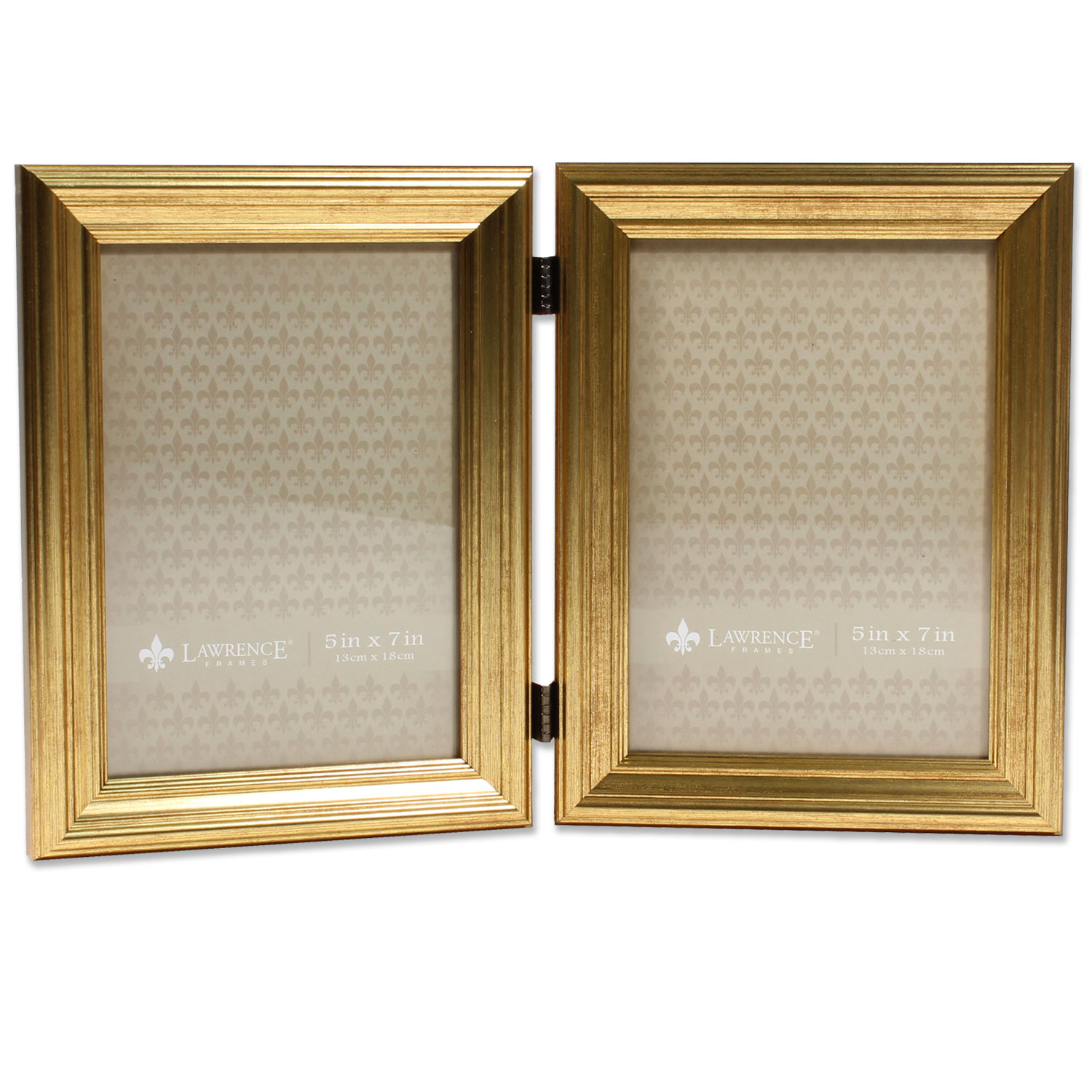 5x7 Hinged Double Sutter Burnished Gold Picture Frame
