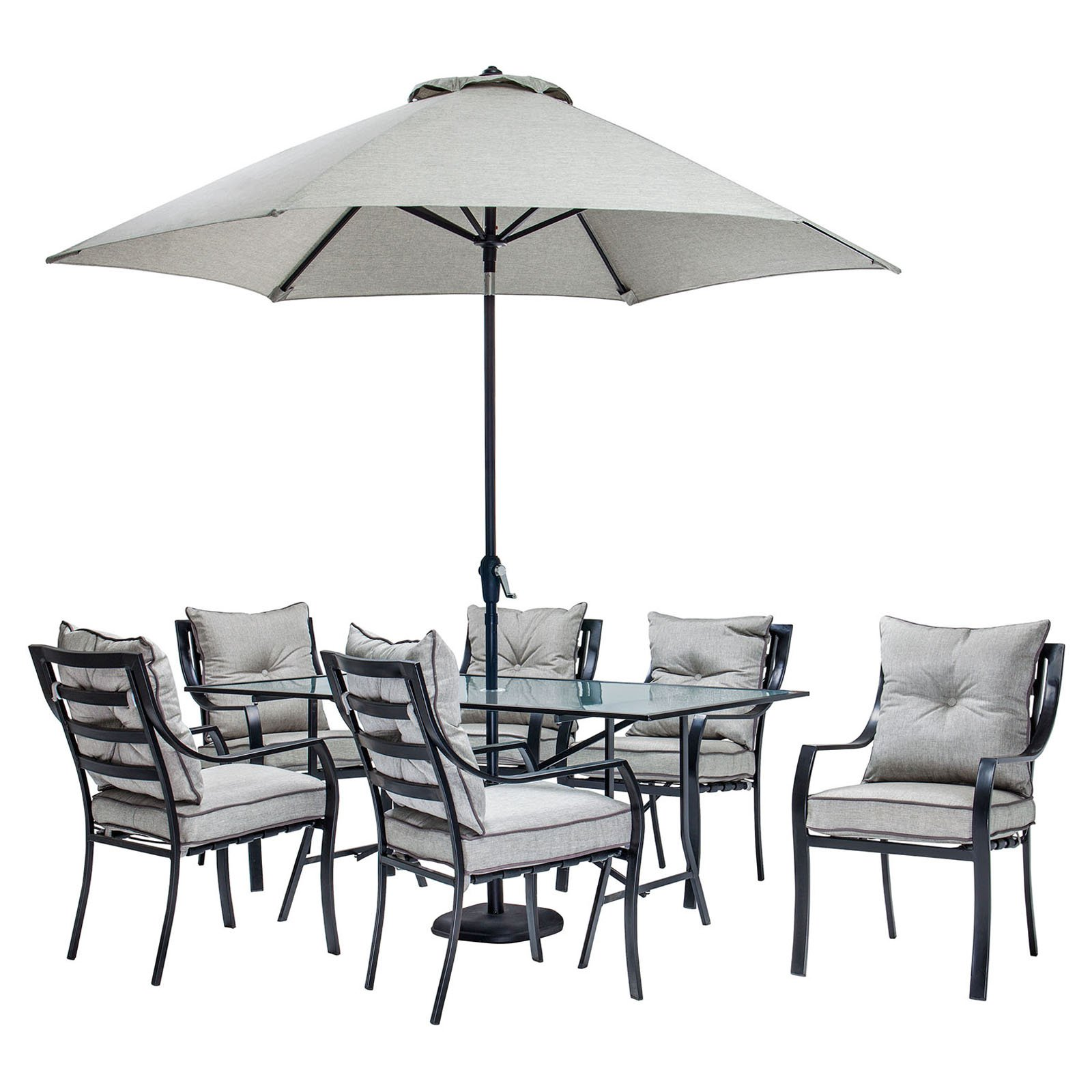 Hanover Lavallette 7 Piece Outdoor Dining Set with Table Umbrella