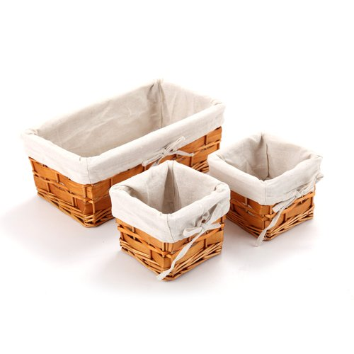HomeZone Small 3pc Light Willow Basket Set