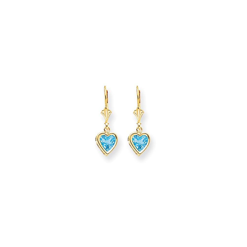 14k Yellow Gold 6mm Heart Blue Topaz Earrings. Gem Wt- 2.1ct (0.9IN x 0.3IN )