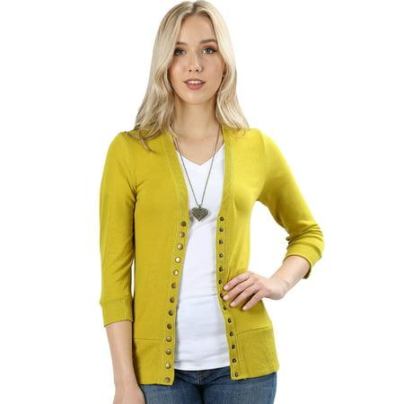Zenana 34 Sleeve Snap Button Sweater Cardigan 2 Walmart
