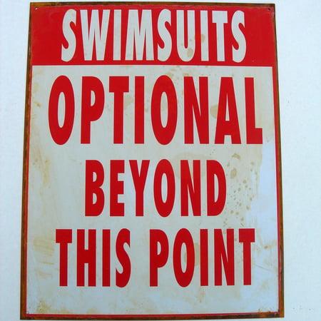 - Metal SWIMSUITS OPTIONAL Funny Warning Sign Pool/Hot Tub/Beach Bar Wall Decor