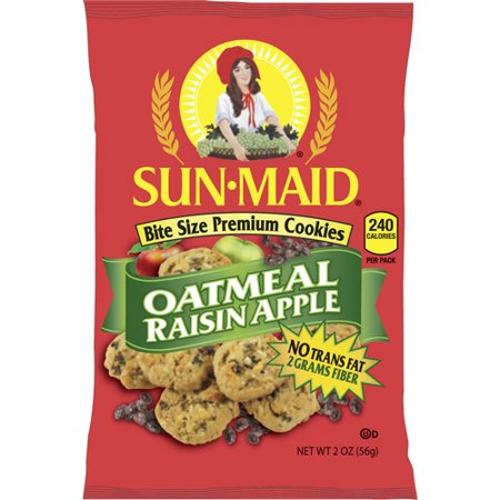 Sun-Maid, Oatmeal Raisin Apple Bite Size Premium Cookies, 2 oz, 60 (Best Maid Cookie Factory)